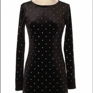 black velvet dress with rhinestone embellishments